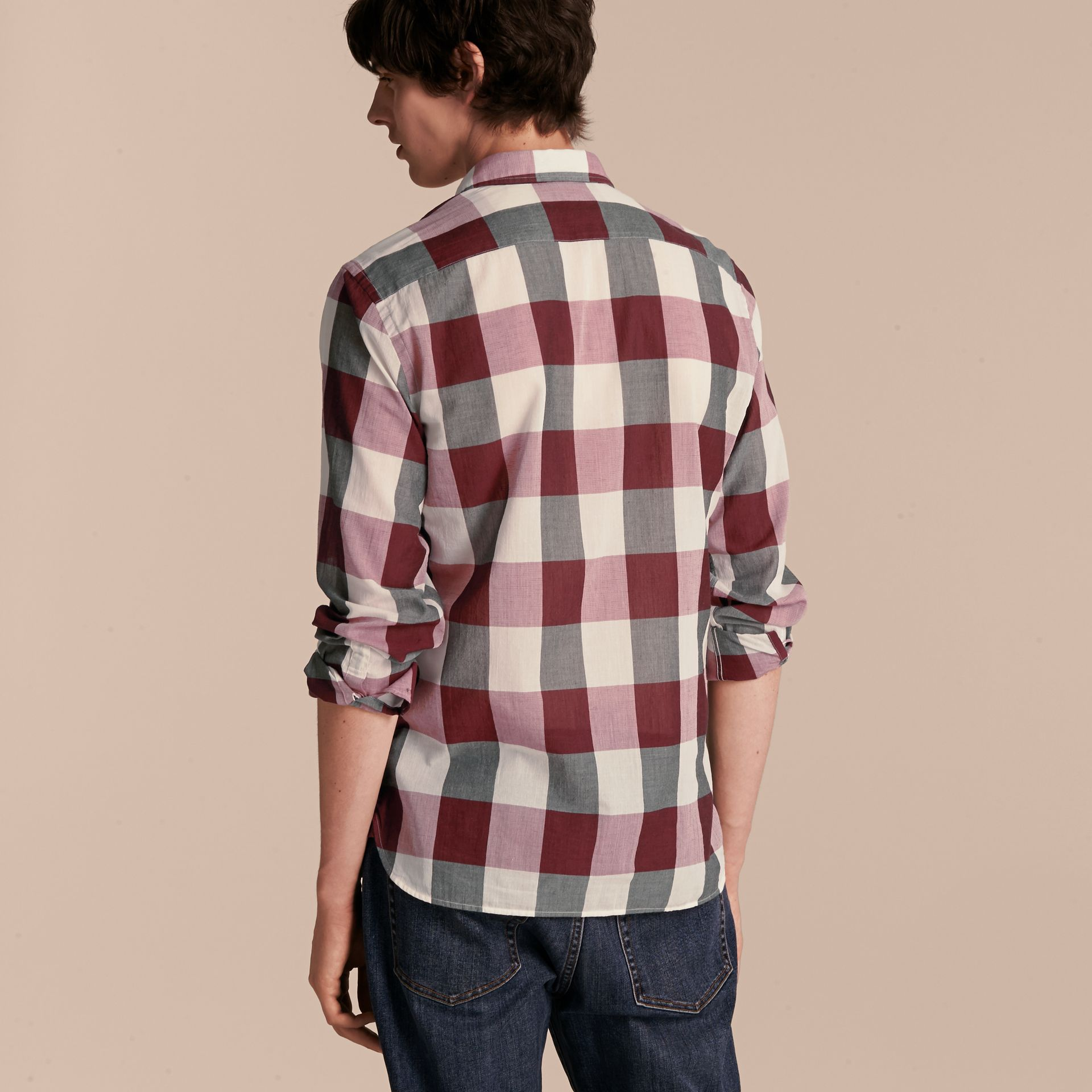 Oversize Gingham Cotton Linen Shirt Plum Pink - gallery image 3