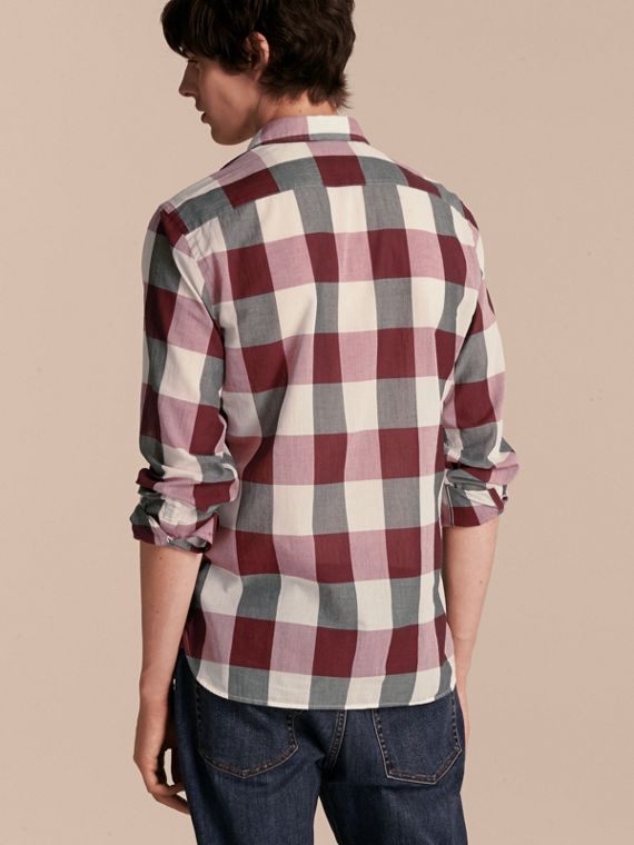 Oversize Gingham Cotton Linen Shirt Plum Pink - cell image 2