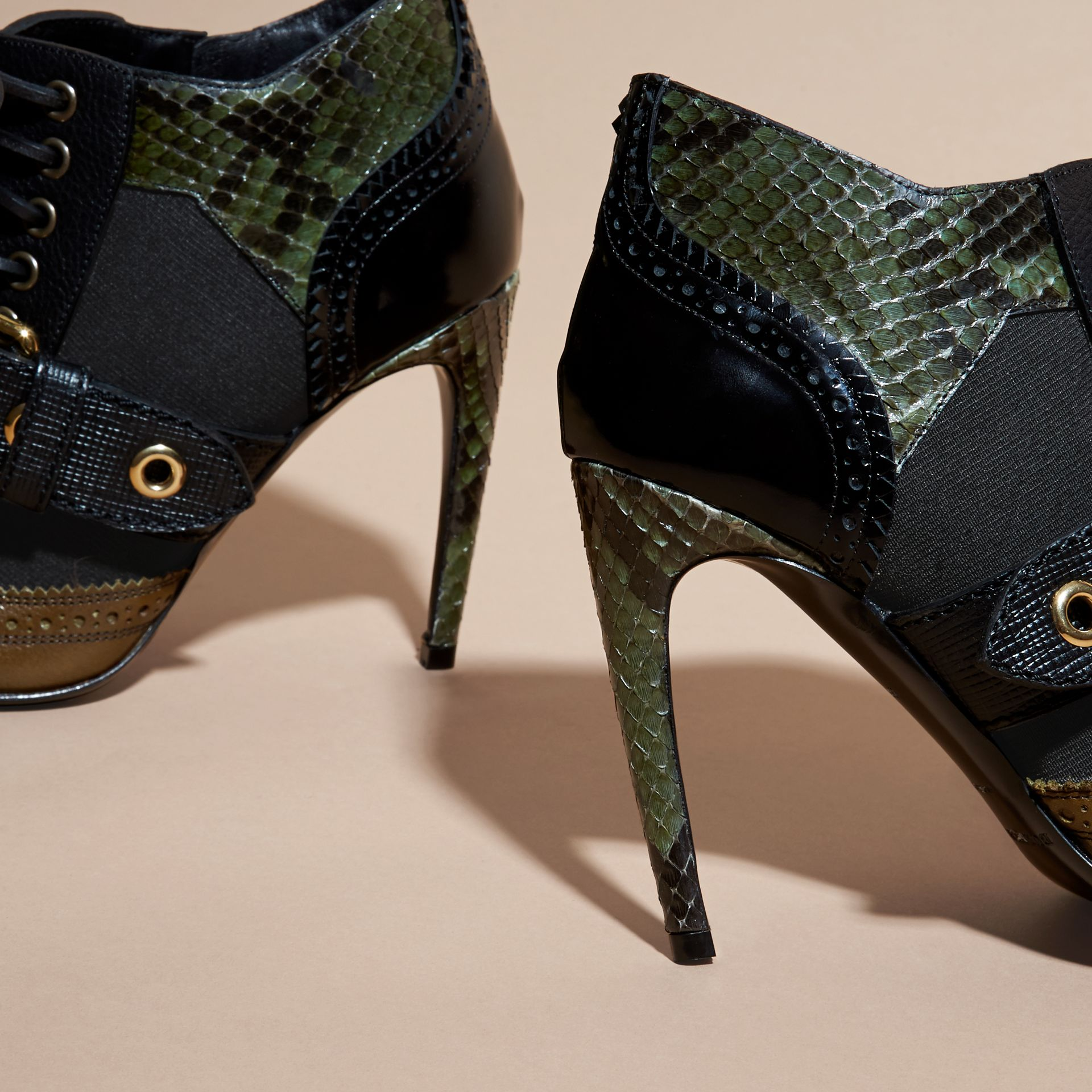 Buckle Detail Leather and Snakeskin Ankle Boots Military Olive - gallery image 4