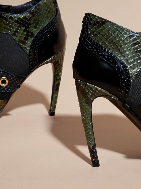 Military olive Buckle Detail Leather and Snakeskin Ankle Boots Military Olive - cell image 3