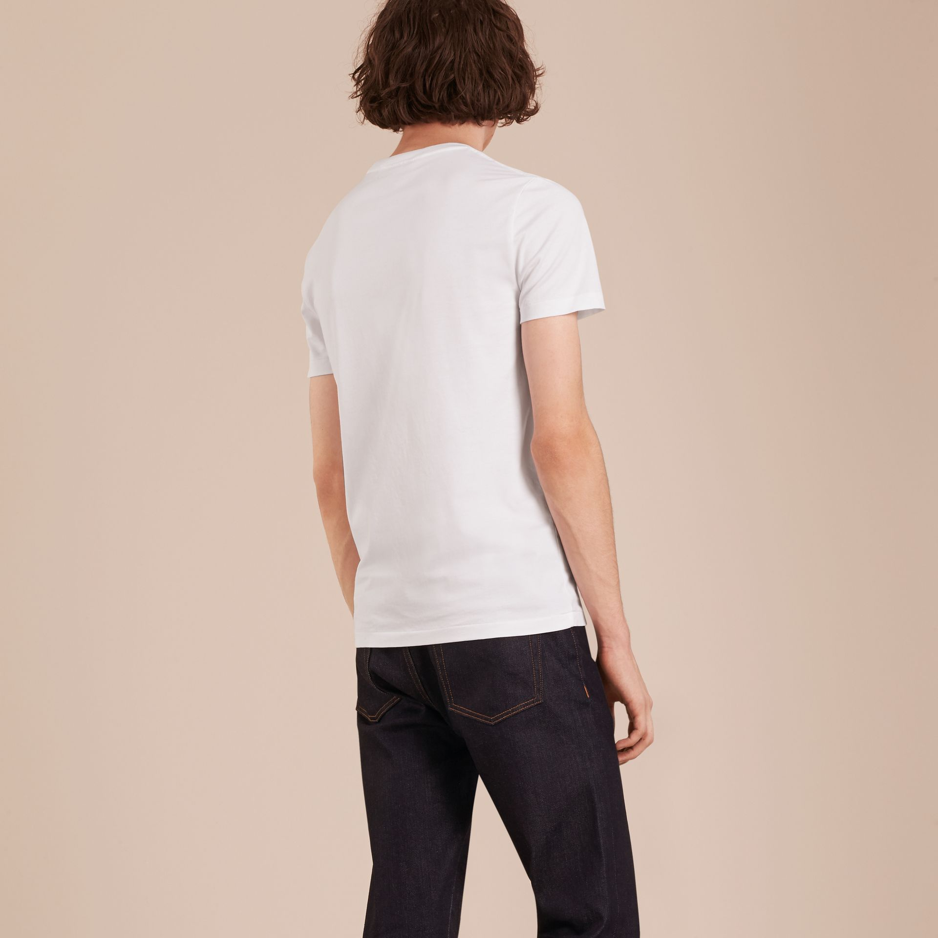 Cotton V-neck T-shirt in Optic White - Men | Burberry - gallery image 3