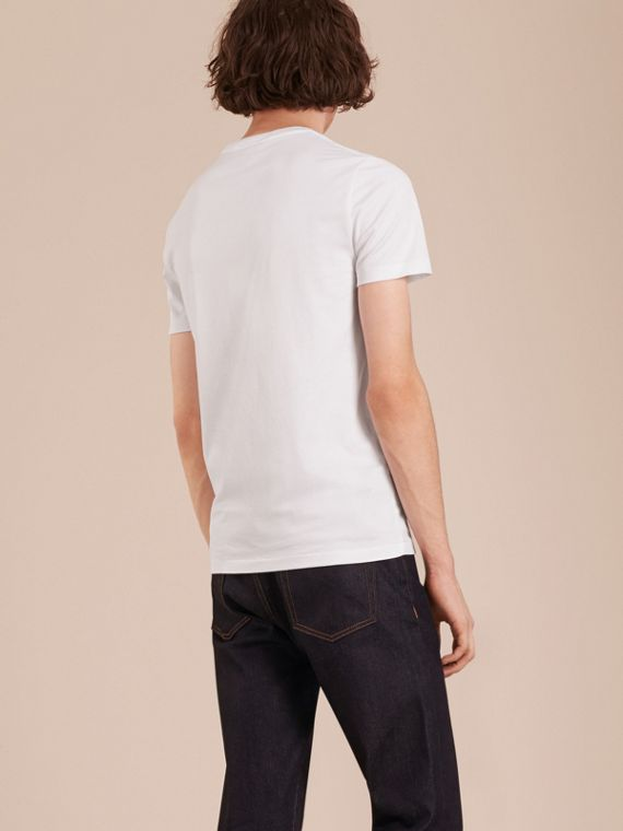 Cotton V-neck T-shirt in Optic White - Men | Burberry Singapore - cell image 2