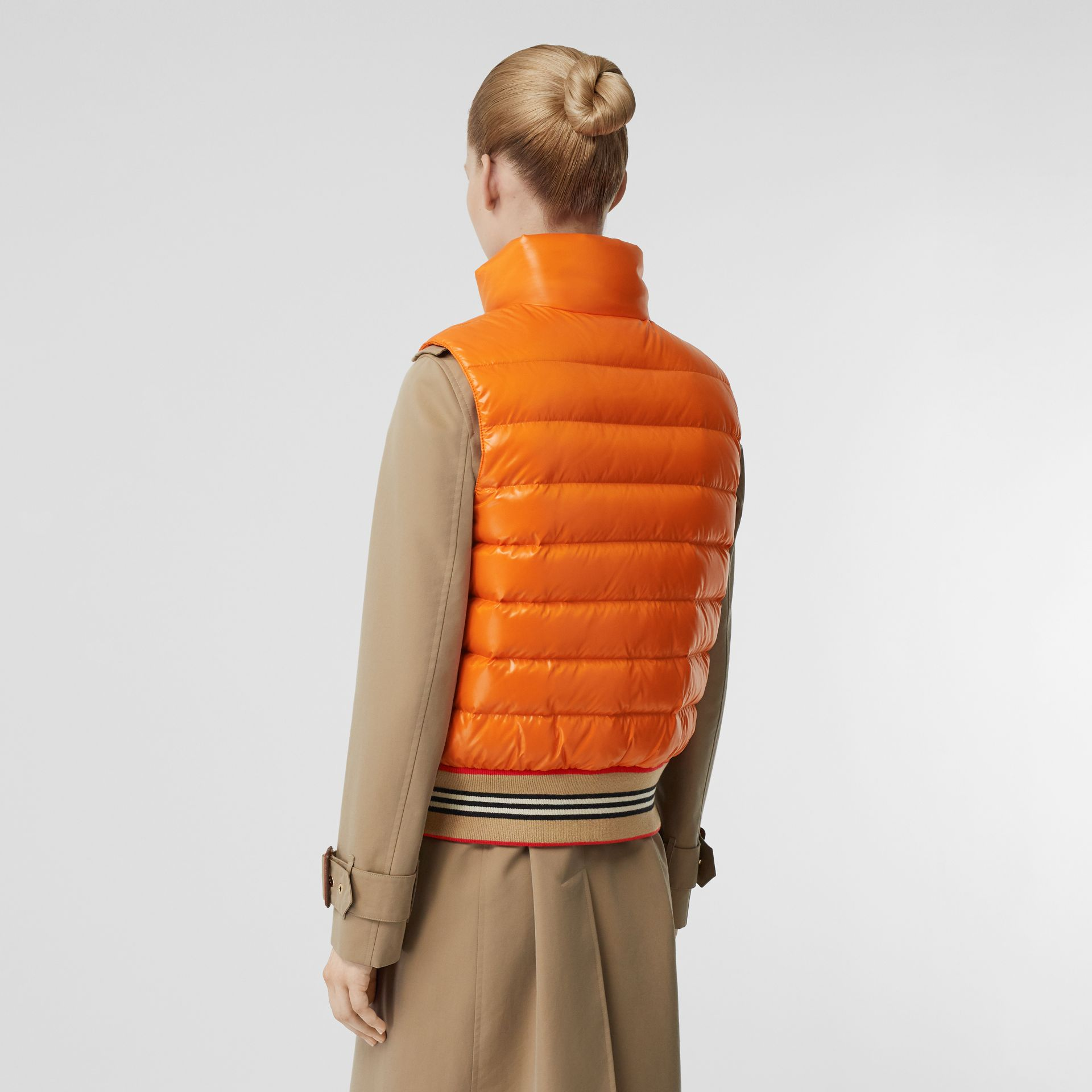 Icon Stripe Detail Down-filled Puffer Gilet in Orange - Women | Burberry - gallery image 2