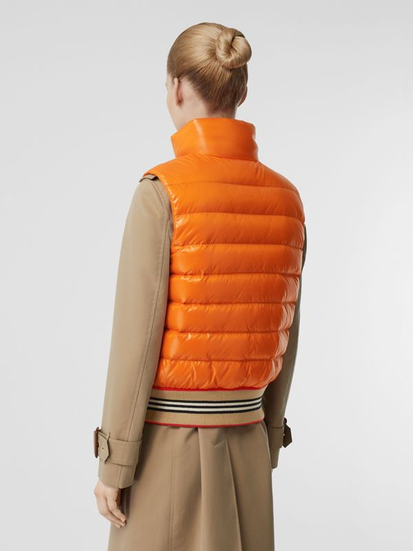Icon Stripe Detail Down-filled Puffer Gilet in Orange - Women | Burberry Hong Kong - cell image 2
