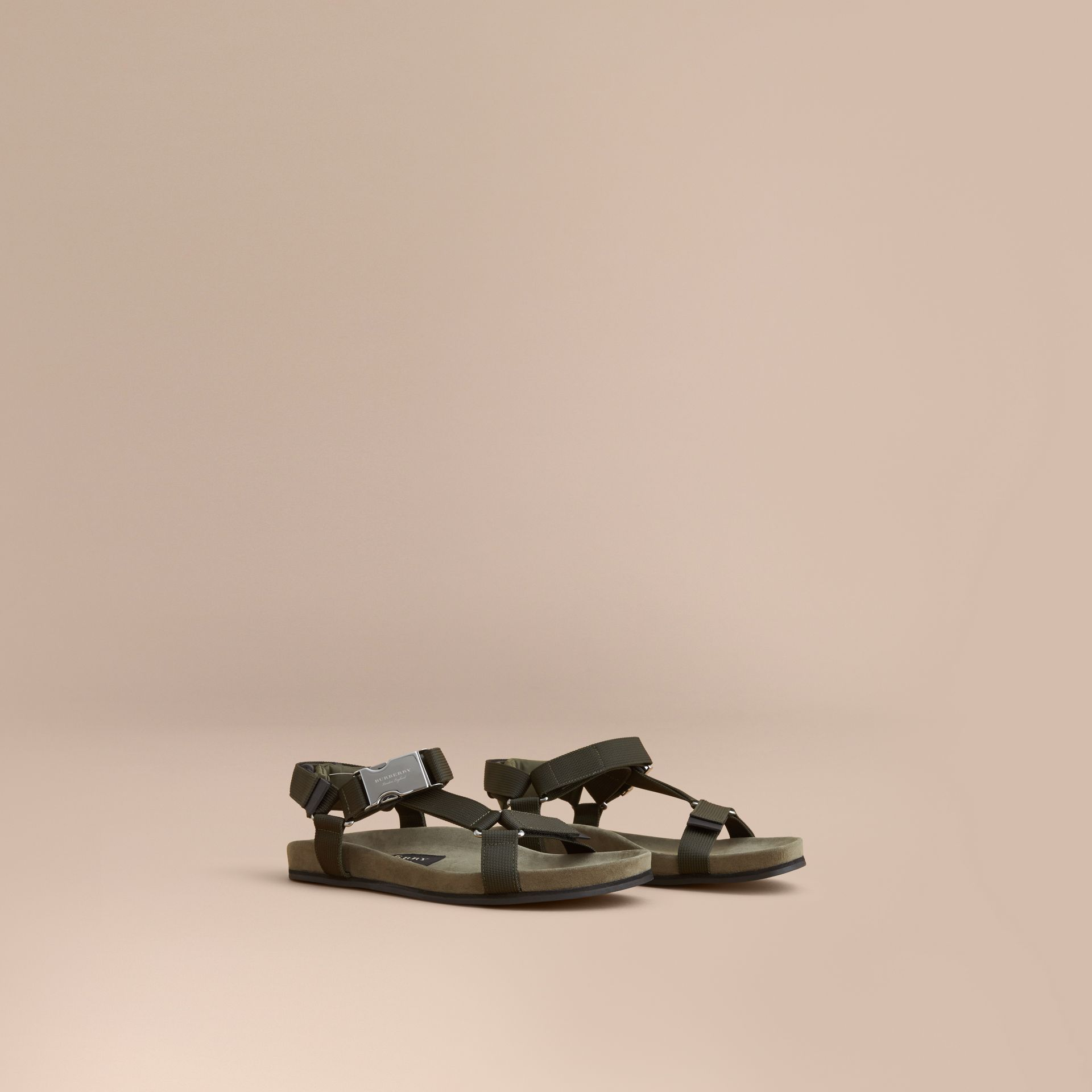 Three-point Strap Ripstop Sandals in Khaki - Men | Burberry - gallery image 1