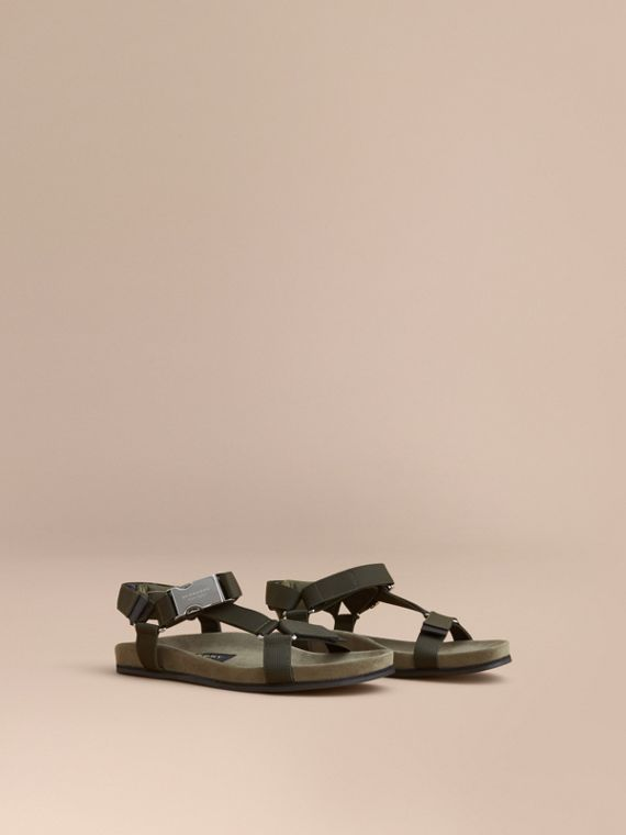 Three-point Strap Ripstop Sandals in Khaki