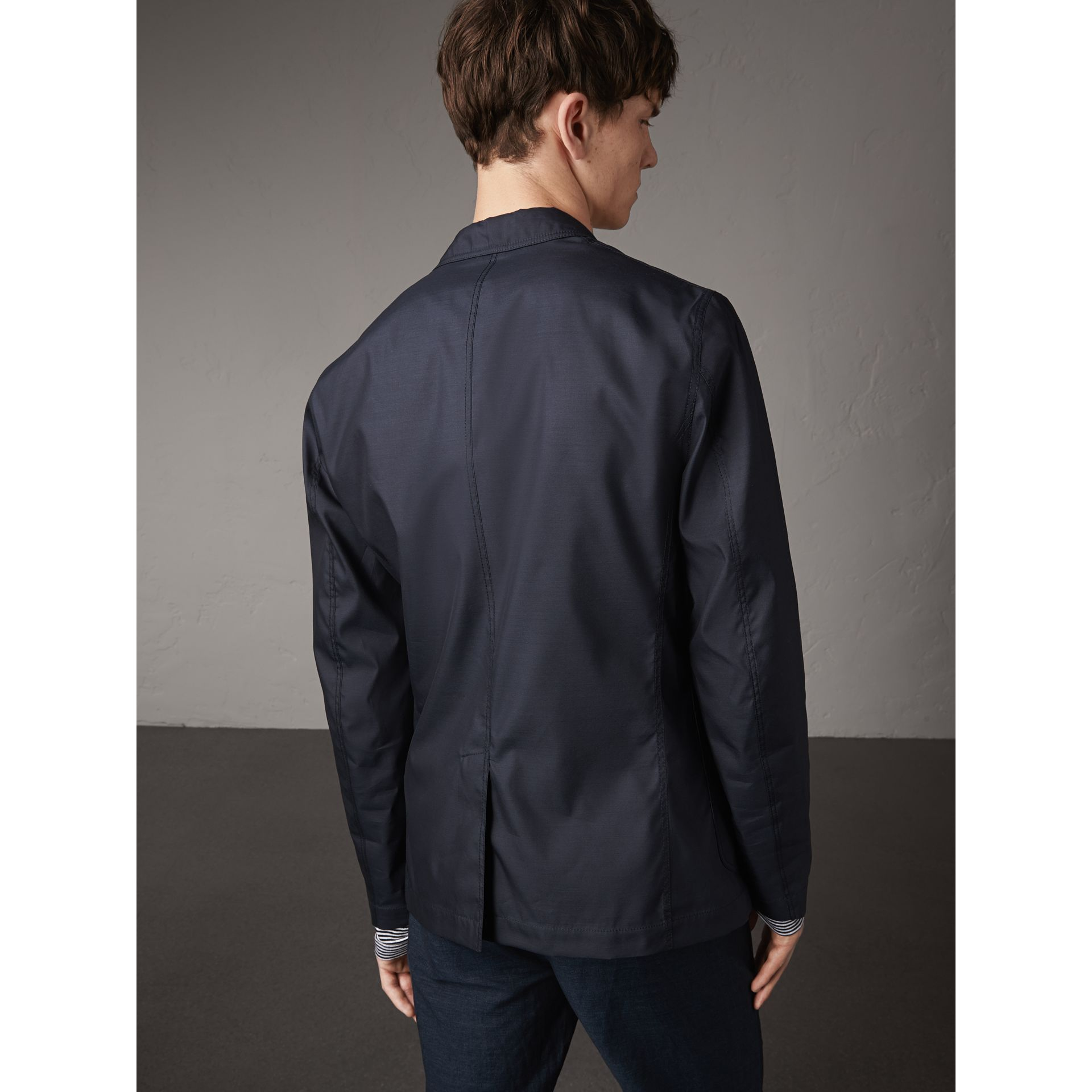 Silk Wool Workwear Blazer in Navy - Men | Burberry United Kingdom - gallery image 3