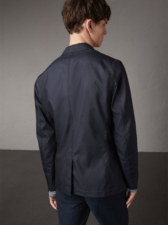 Silk Wool Workwear Blazer in Navy - Men | Burberry - cell image 2