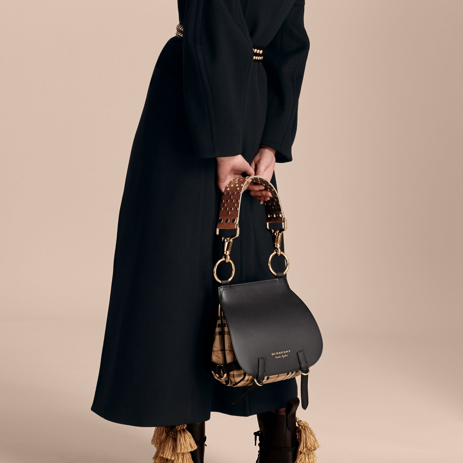 Black The Bridle Bag in Leather, Haymarket Check and Alligator - gallery image 3