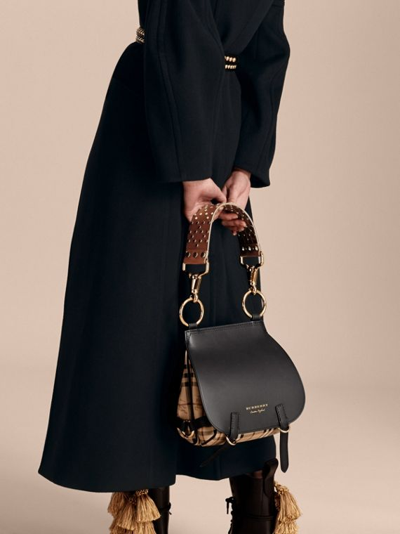Borsa The Bridle in pelle, motivo Haymarket check e alligatore (Nero) - Donna | Burberry - cell image 2