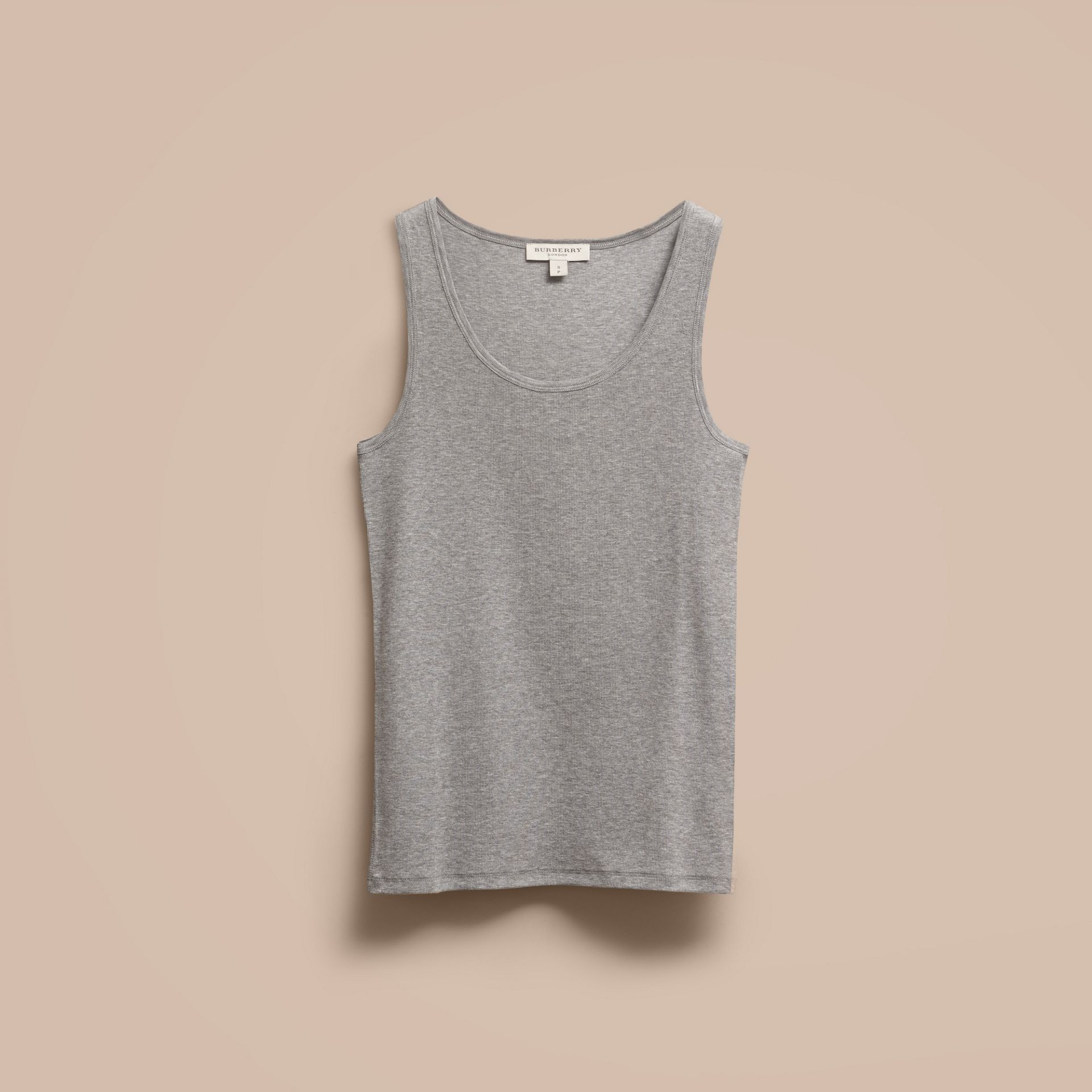 Stretch Cotton Lyocell Vest Pale Grey Melange - gallery image 4