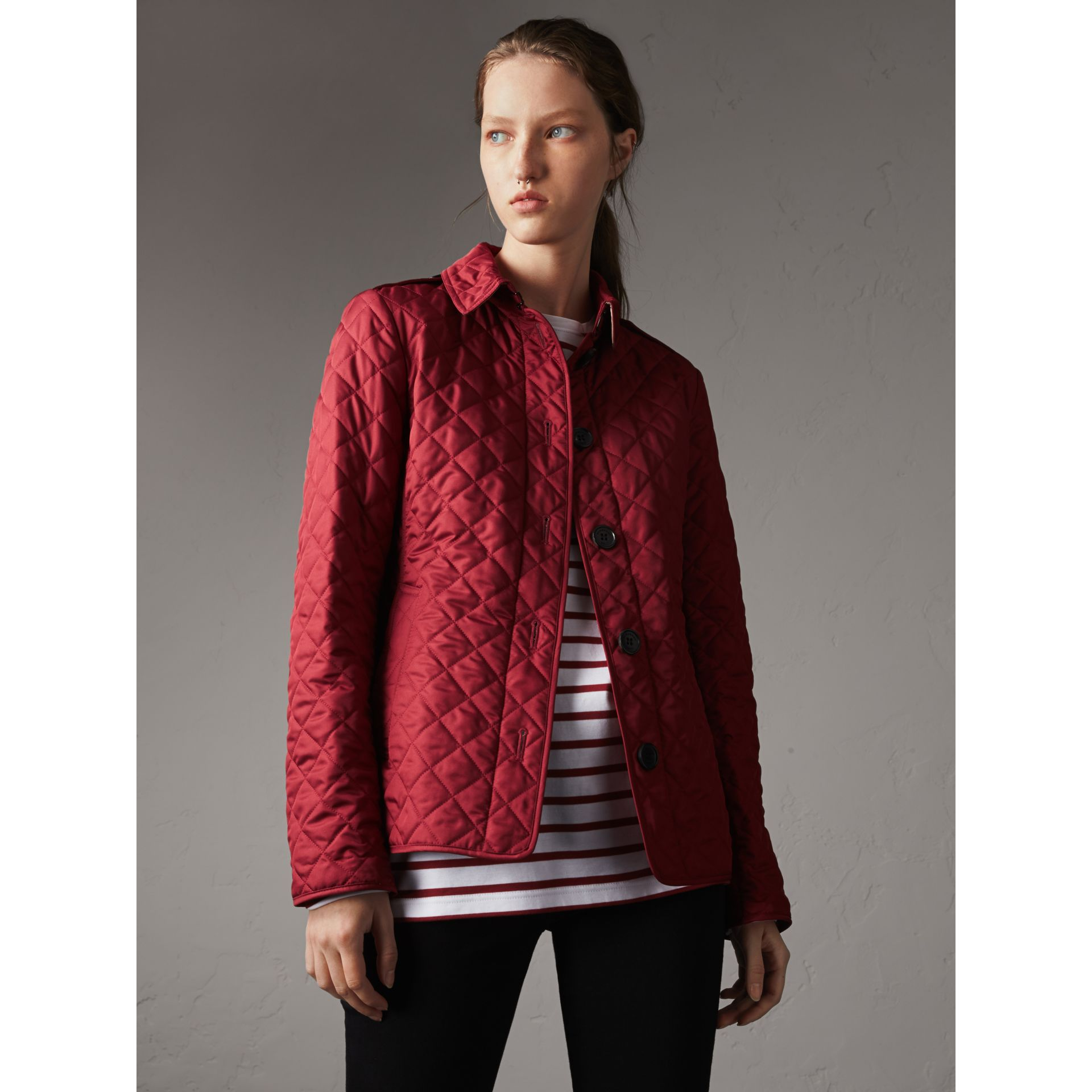 Diamond Quilted Jacket in Parade Red - Women | Burberry United Kingdom - gallery image 4