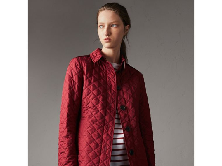 Diamond Quilted Jacket in Parade Red - Women | Burberry - cell image 4