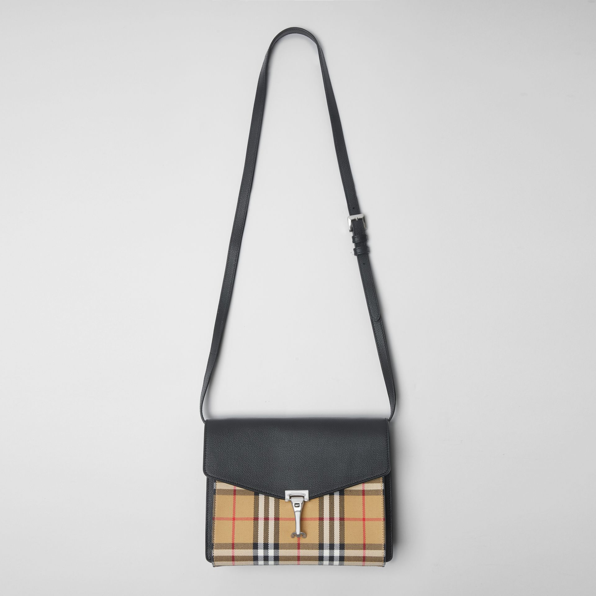 Small Vintage Check and Leather Crossbody Bag in Black - Women | Burberry - gallery image 2