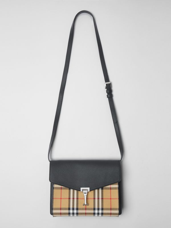 Small Vintage Check and Leather Crossbody Bag in Black - Women | Burberry - cell image 2