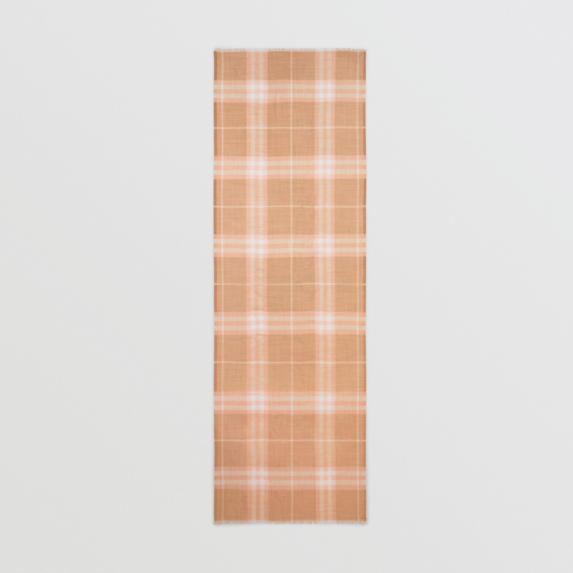 Lightweight Check Wool and Silk Scarf in Fawn | Burberry - gallery image 5