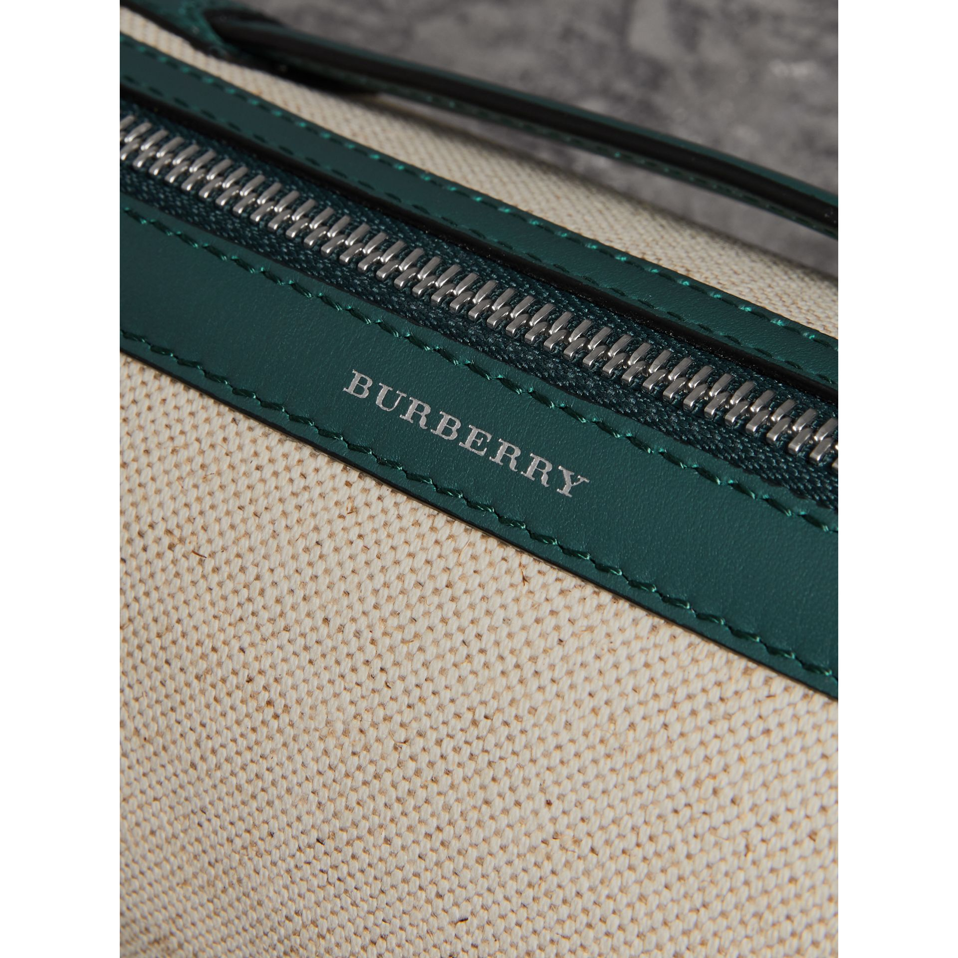 The Cotton Linen and Leather Barrel Bag in Dark Cyan - Women | Burberry United Kingdom - gallery image 1
