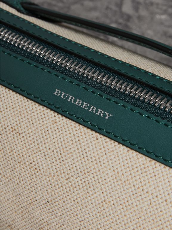 The Cotton Linen and Leather Barrel Bag in Dark Cyan - Women | Burberry United Kingdom - cell image 1