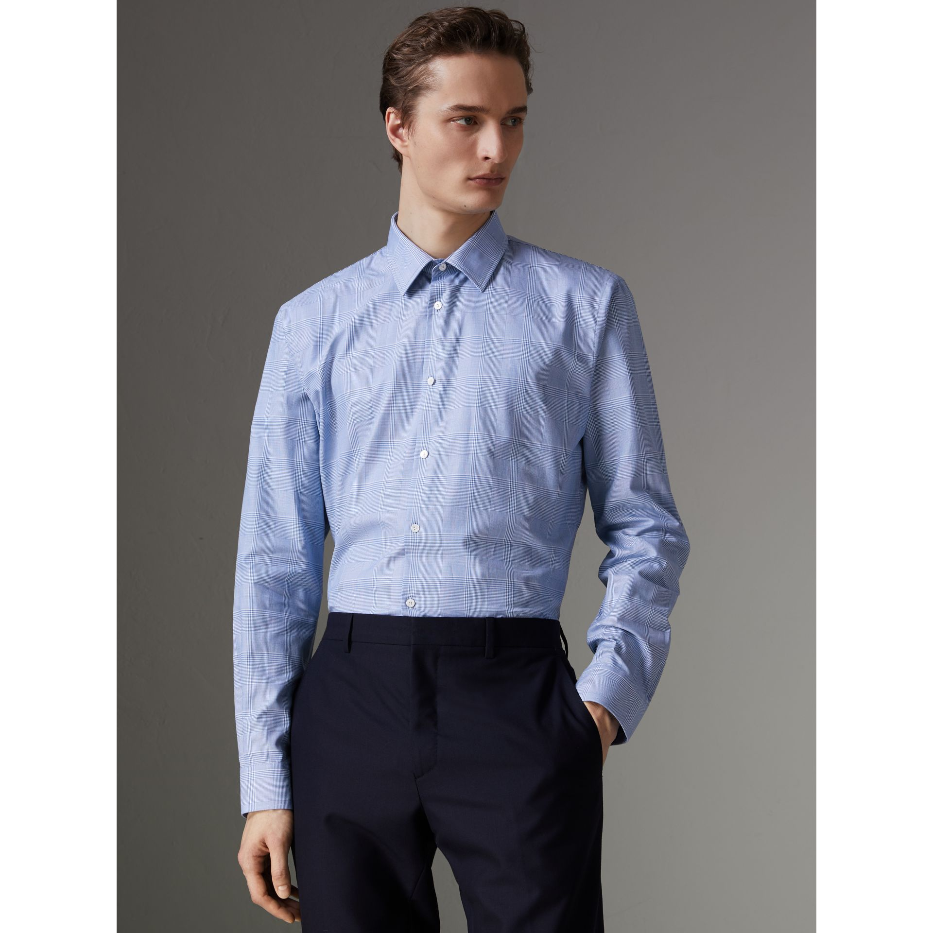 Modern Fit Check Cotton Shirt in City Blue - Men | Burberry - gallery image 0