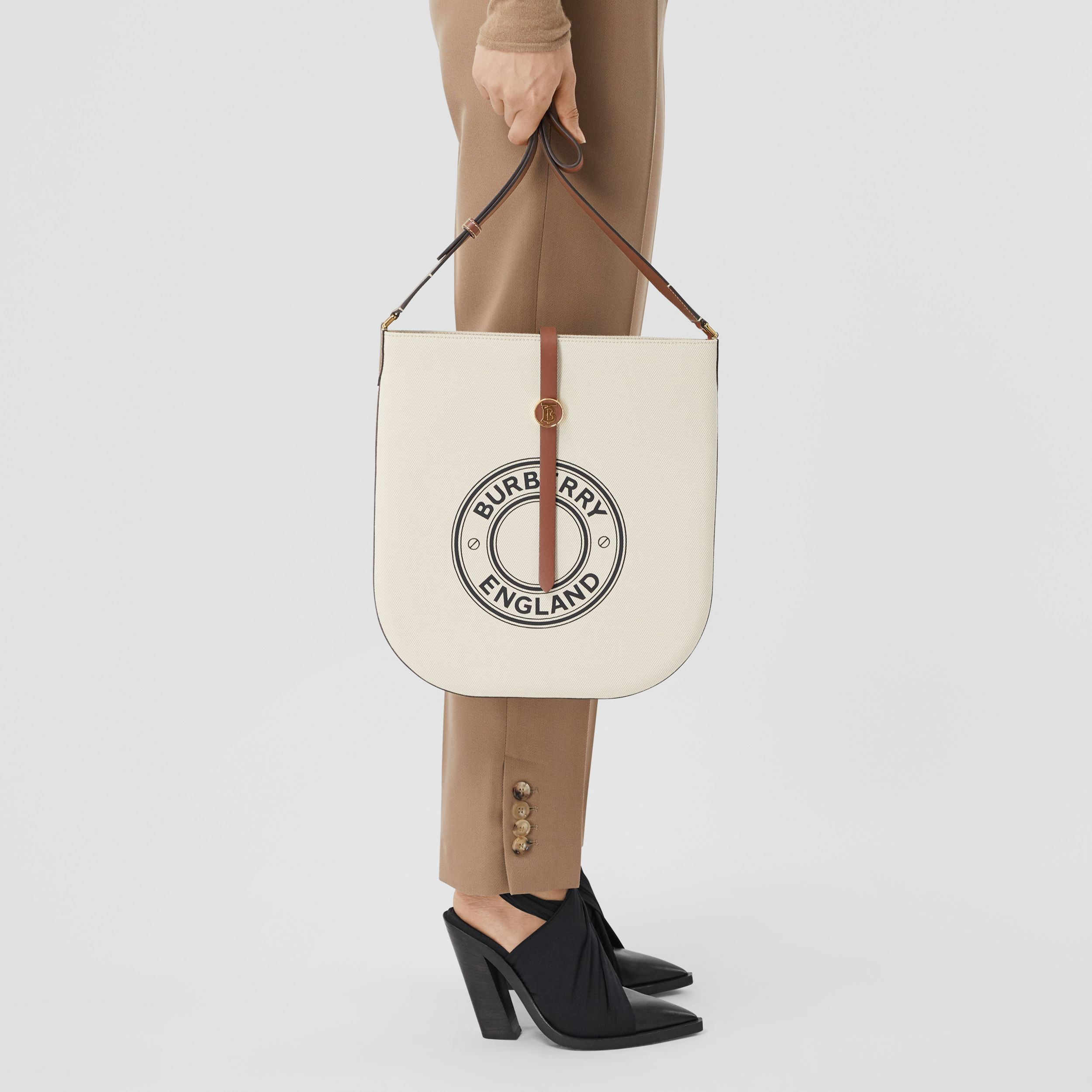Logo Graphic Cotton Canvas and Leather Anne Bag in Natural/tan - Women | Burberry - 3