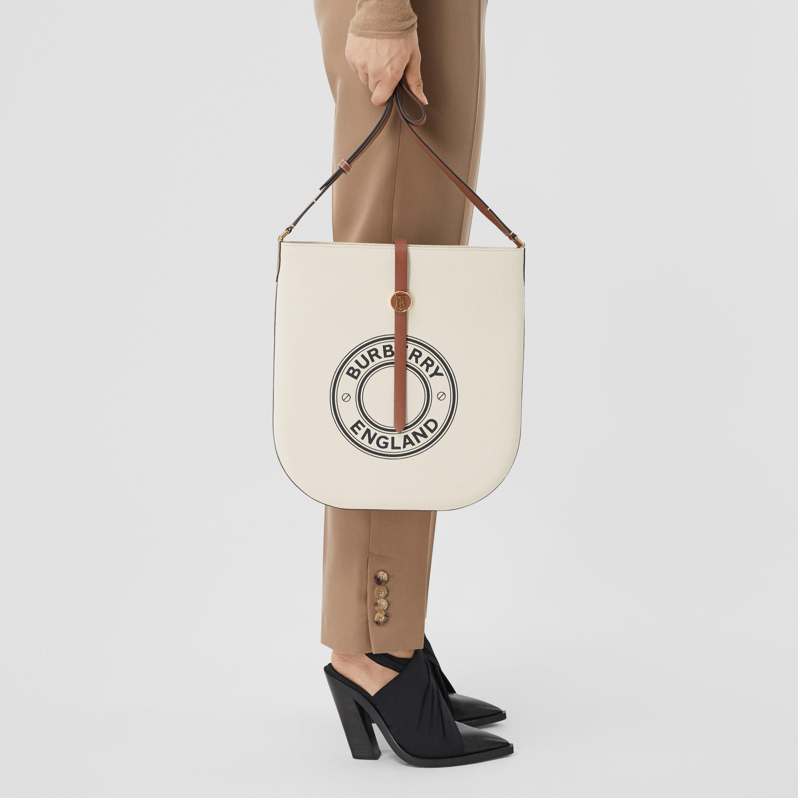Borsa Anne in tela di cotone e pelle con grafica e logo (Naturale/marroncino) - Donna | Burberry - 3