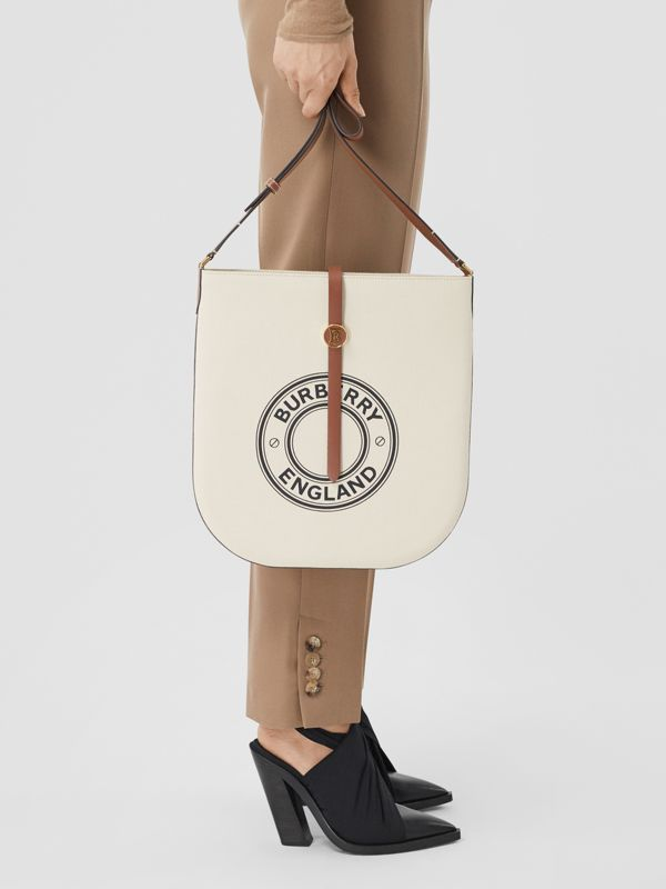 Logo Graphic Cotton Canvas and Leather Anne Bag in Natural/tan - Women | Burberry - cell image 2