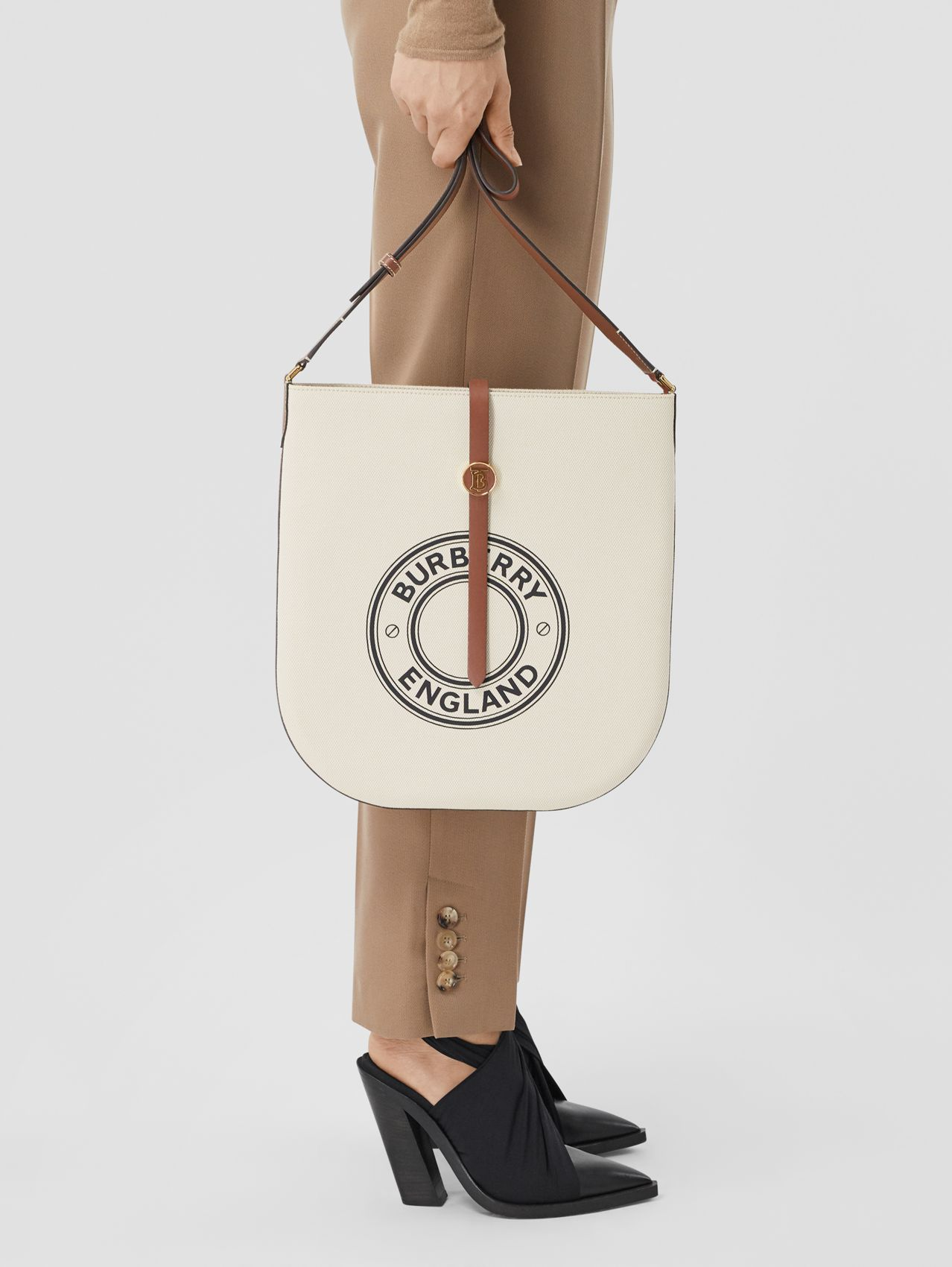 Logo Graphic Cotton Canvas and Leather Anne Bag (Natural/tan)