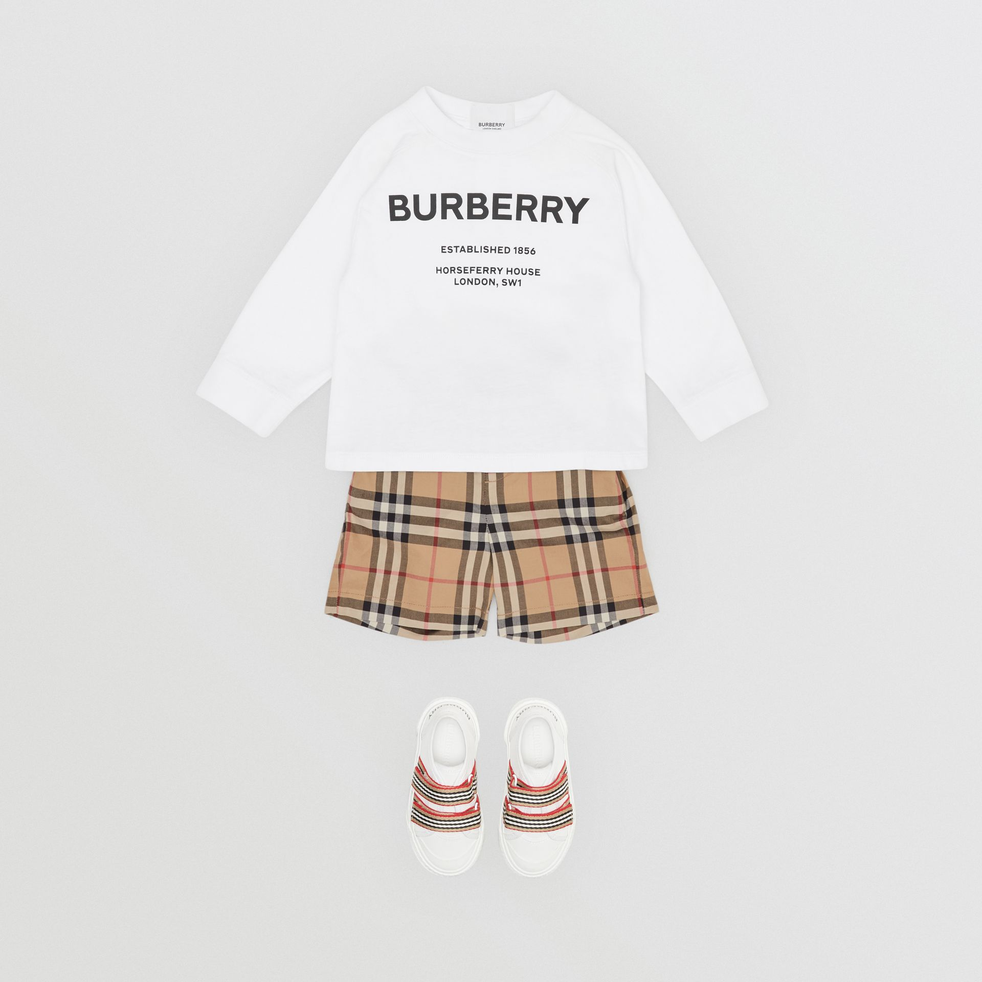 Long-sleeve Horseferry Print Cotton Top in White - Children | Burberry - gallery image 3