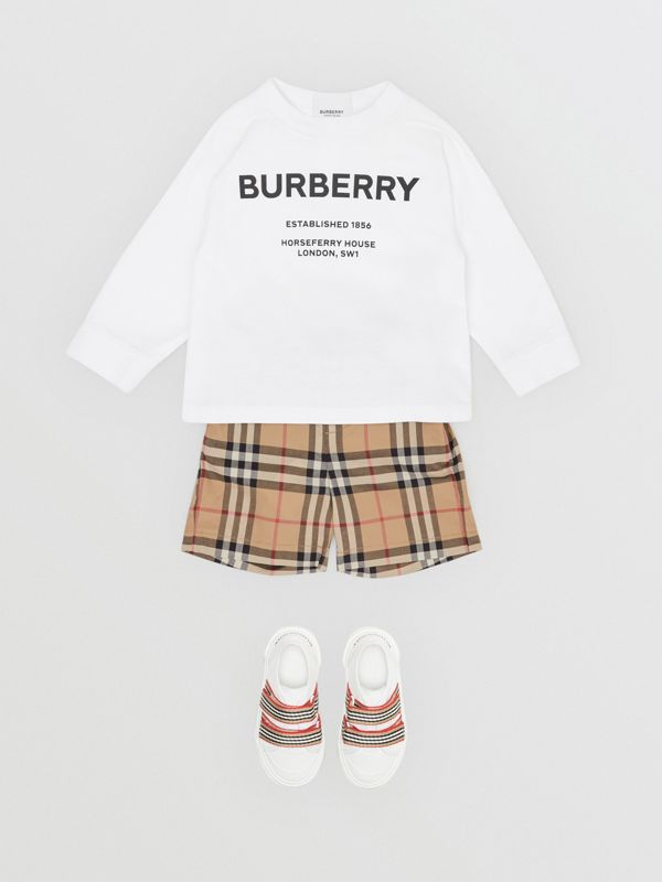 Long-sleeve Horseferry Print Cotton Top in White - Children | Burberry United Kingdom - cell image 3