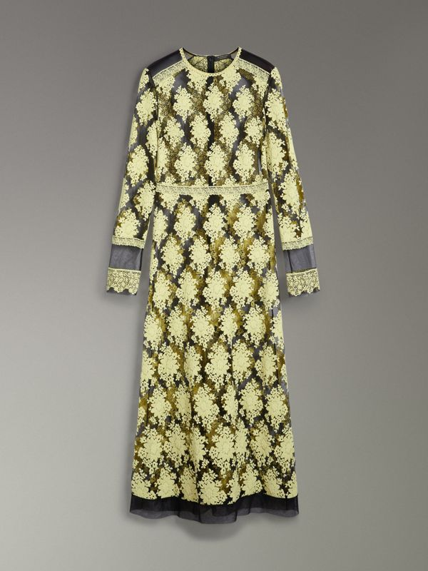 Floral-embroidered Long-sleeve Dress in Pale Camomile/black - Women | Burberry - cell image 3