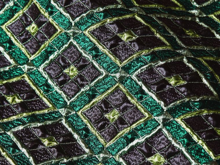 Deep green Patchwork Check Jacquard Dress - cell image 1