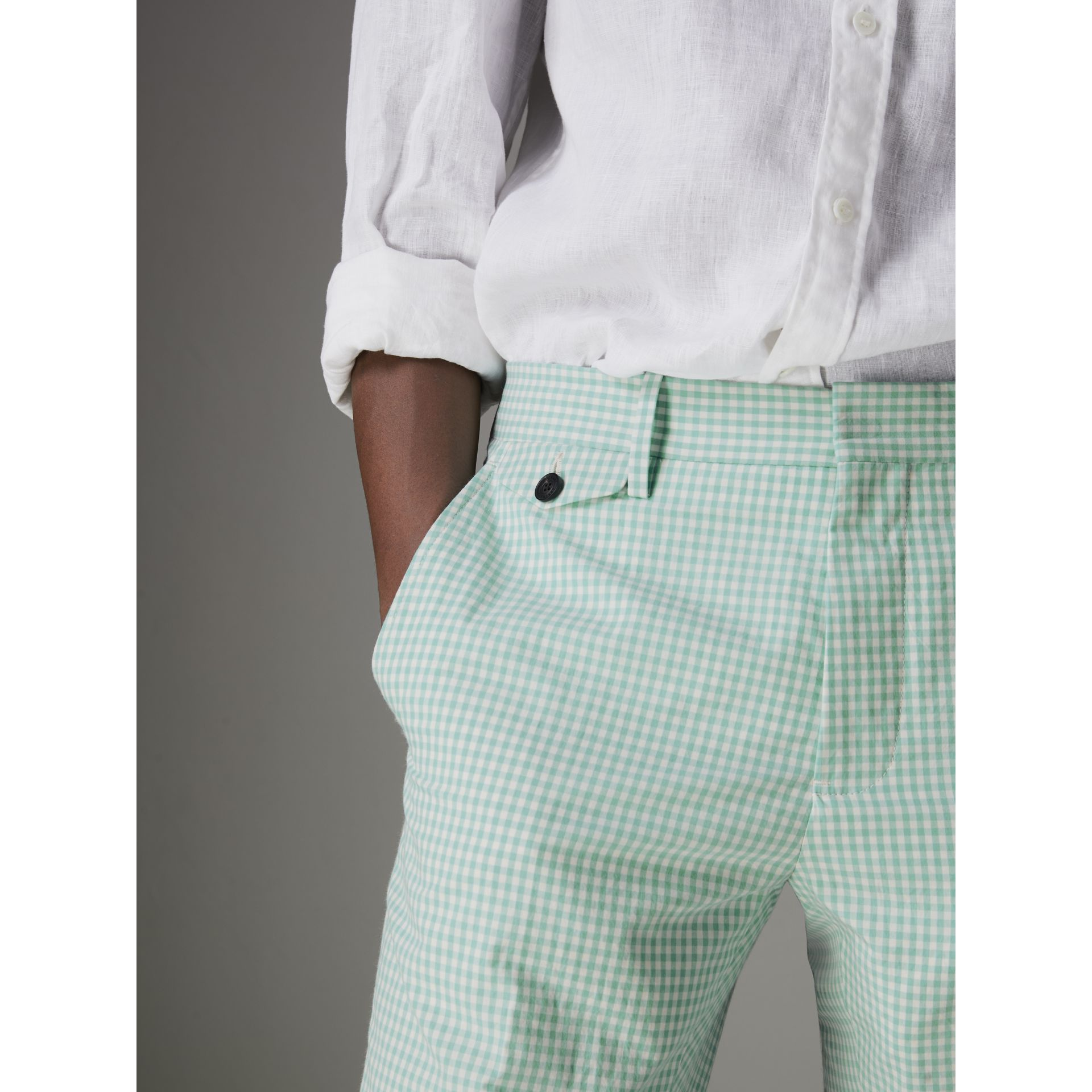 Gingham Cotton Tailored Trousers in Pale Opal - Men | Burberry - gallery image 1