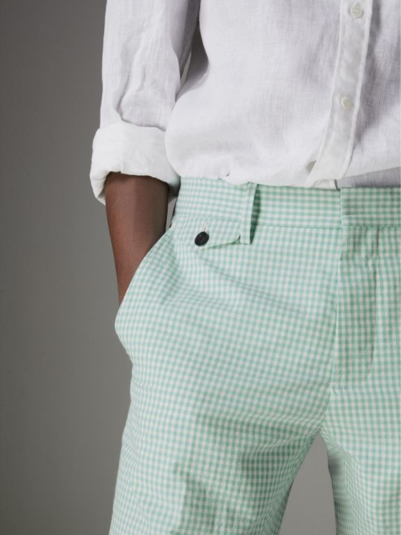 Gingham Cotton Tailored Trousers in Pale Opal - Men | Burberry Singapore - cell image 1