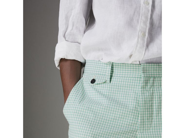 Gingham Cotton Tailored Trousers in Pale Opal - Men | Burberry - cell image 1