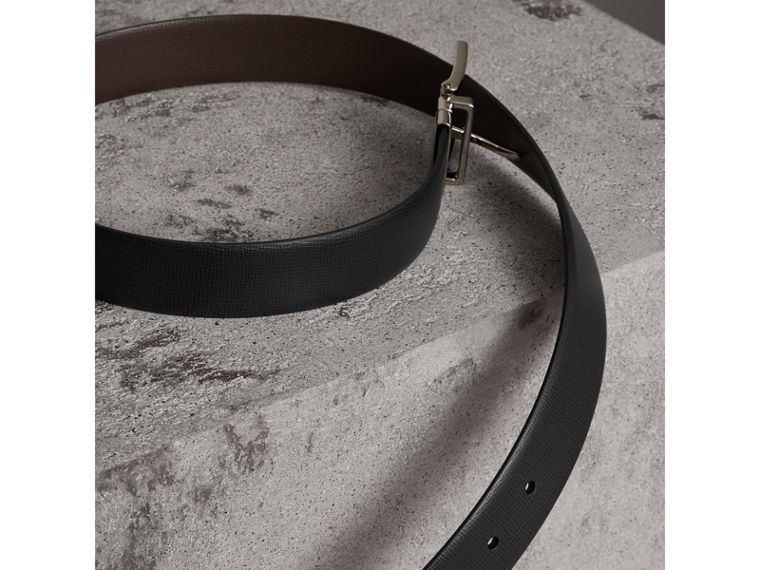 Reversible London Leather Belt in Black/chocolate - Men | Burberry - cell image 4