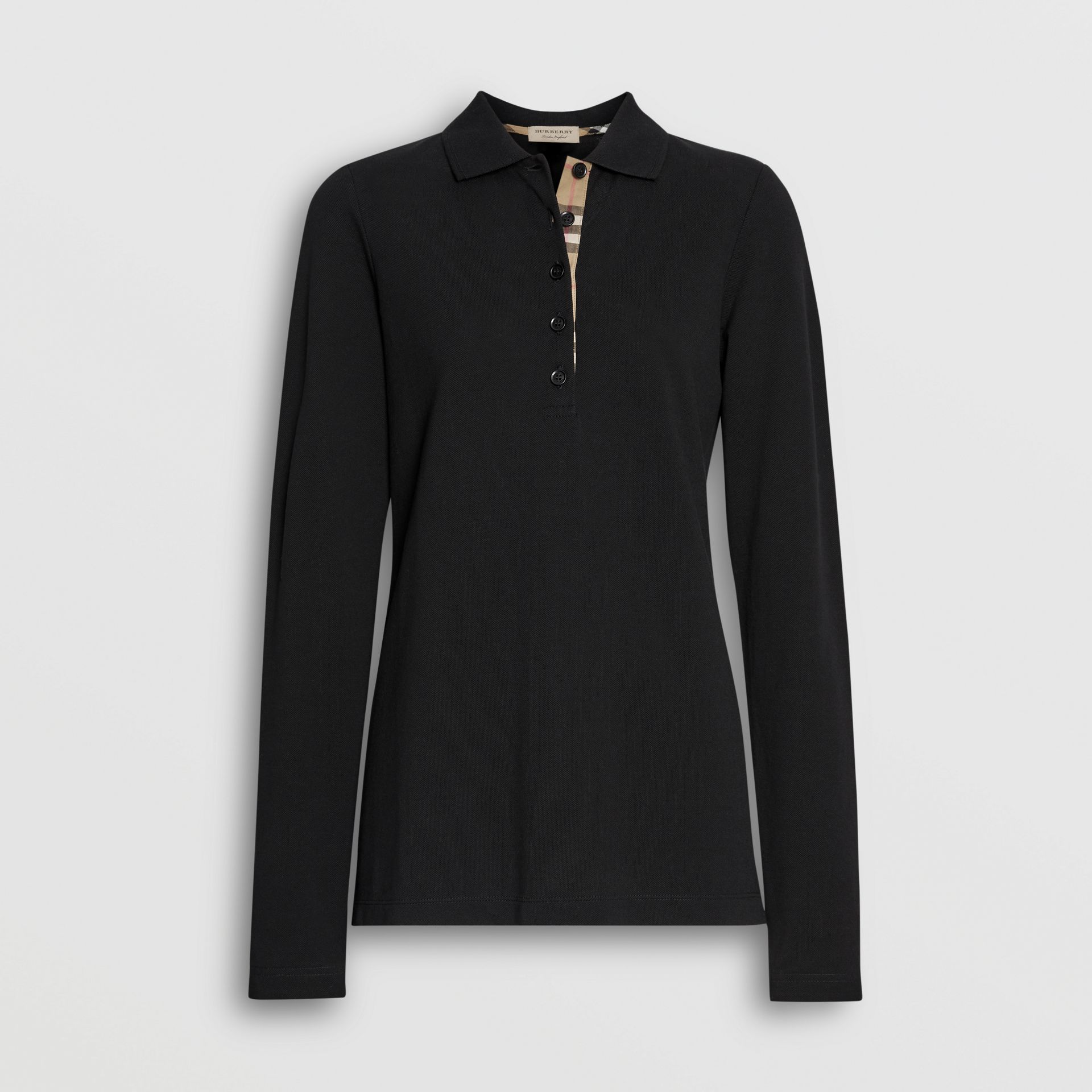 Long-sleeve Check Placket Cotton Piqué Polo Shirt in Black - Women | Burberry - gallery image 3