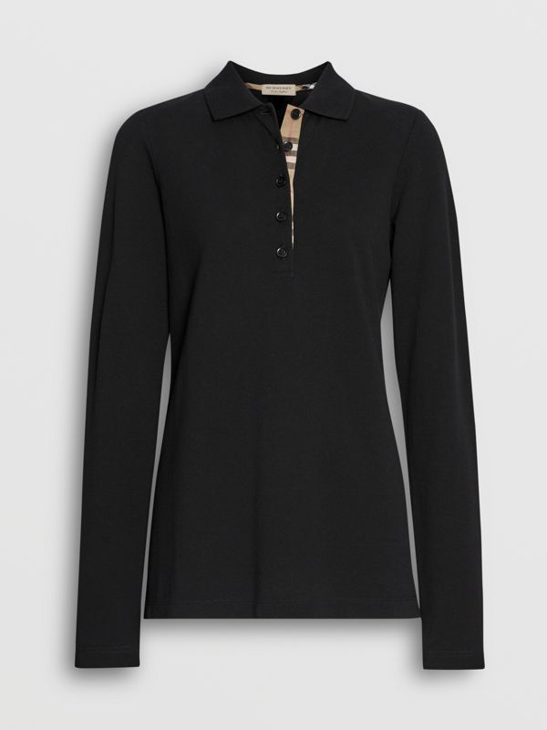 Long-sleeve Check Placket Cotton Piqué Polo Shirt in Black - Women | Burberry Hong Kong - cell image 3