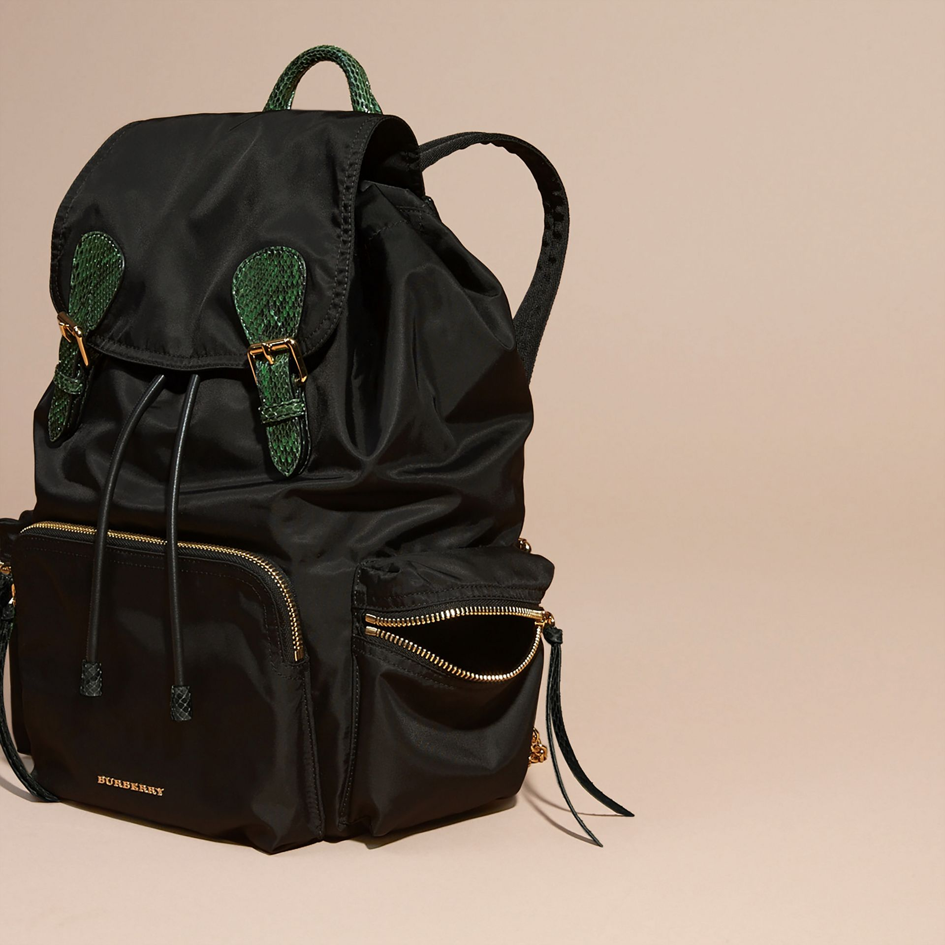 The Large Rucksack in Technical Nylon and Snakeskin in Black/bright Green - gallery image 6