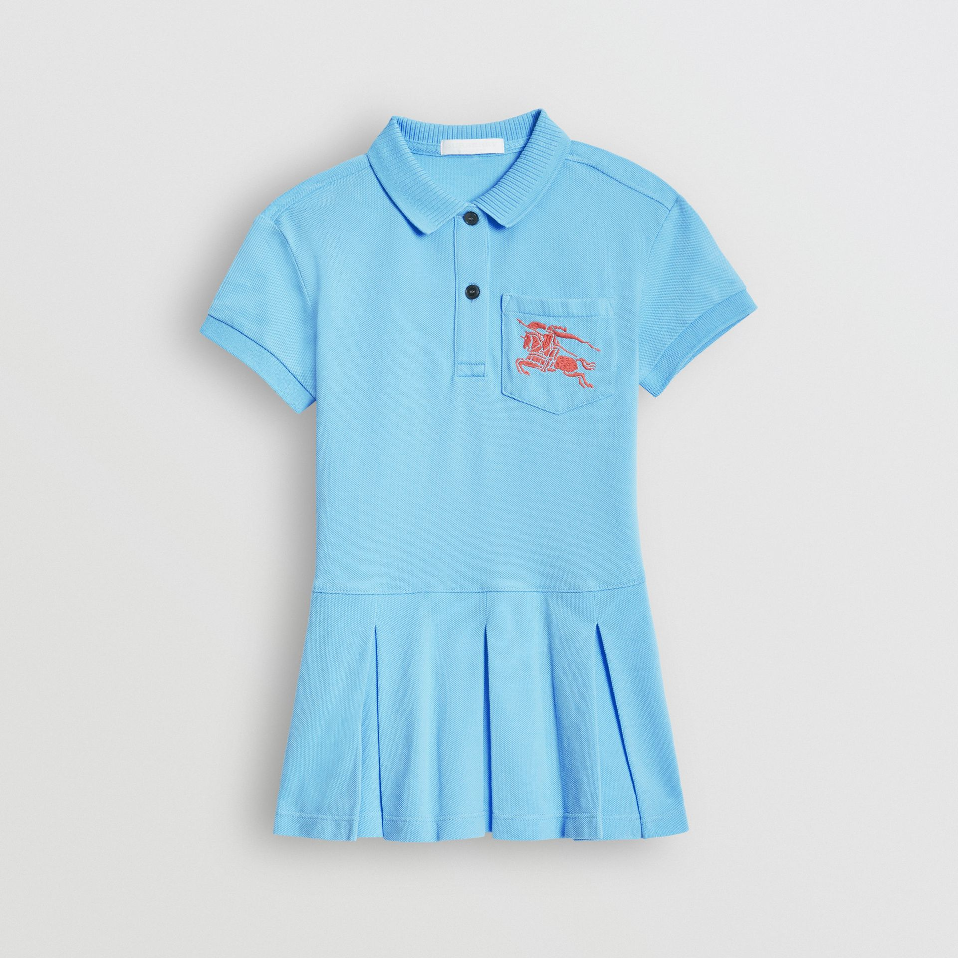 EKD Logo Cotton Polo Dress in Hydrangea Blue | Burberry - gallery image 0