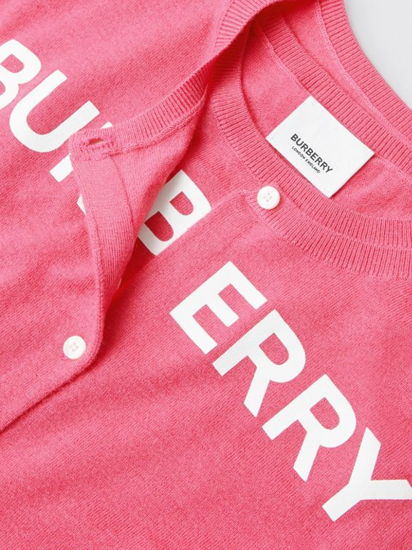 Logo Print Cashmere Two-piece Set in Fuchsia Pink - Children | Burberry - cell image 1