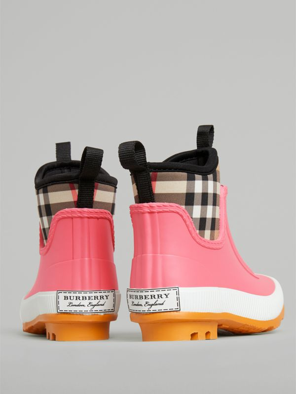 Vintage Check Neoprene and Rubber Rain Boots in Pink Azalea - Children | Burberry - cell image 2