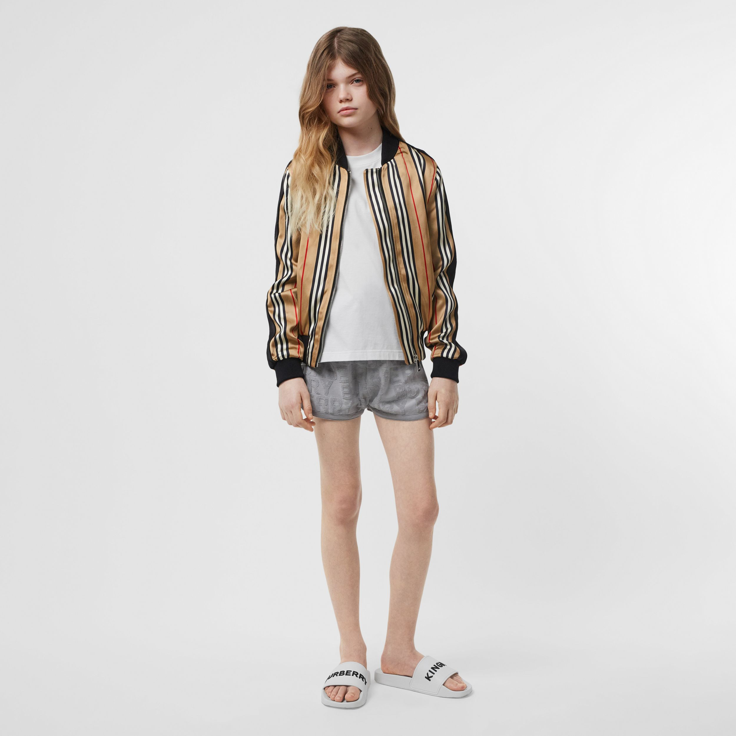 Icon Stripe Satin Bomber Jacket in Archive Beige | Burberry - 3