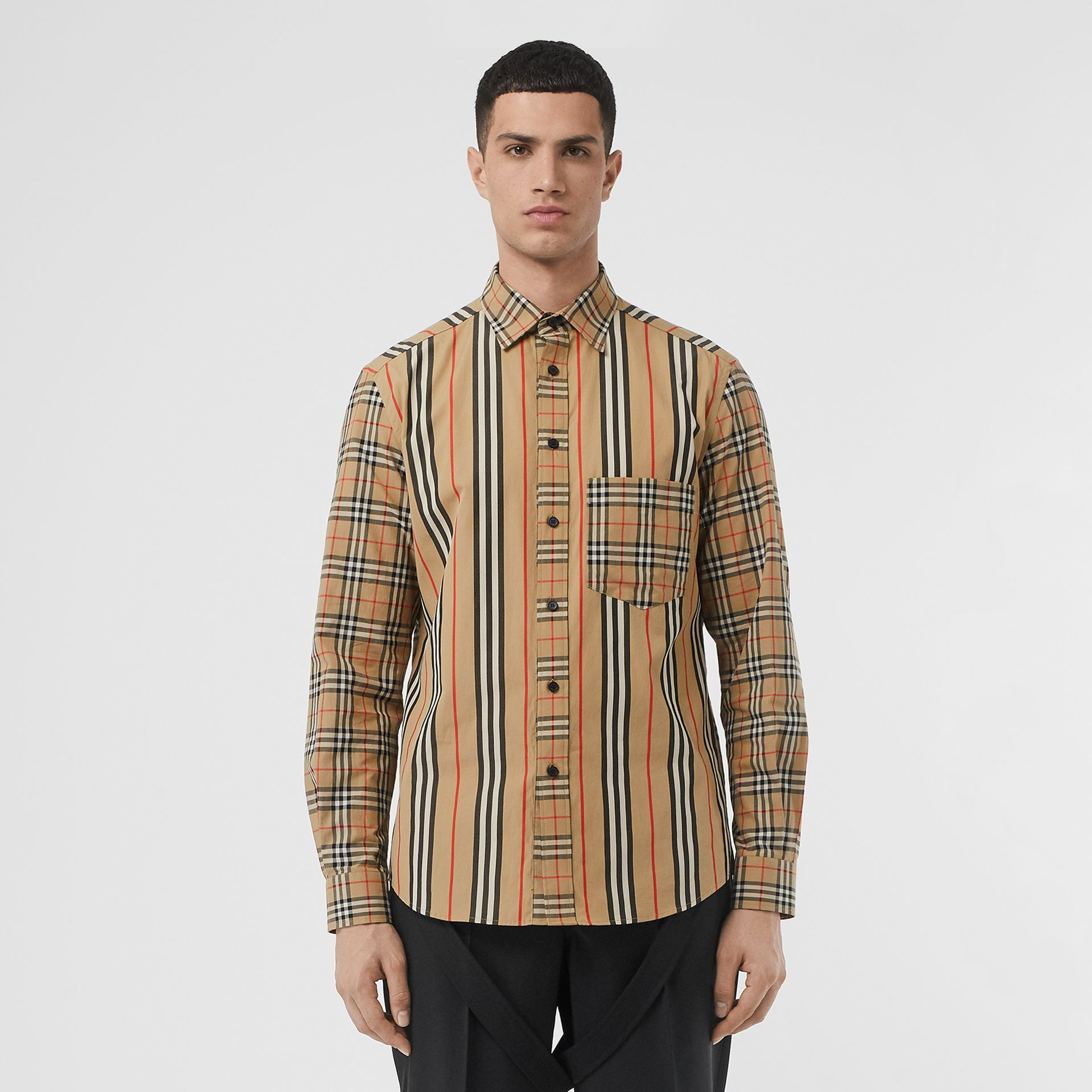 Classic Fit Patchwork Cotton Poplin Shirt in Archive Beige - Men | Burberry - gallery image 5