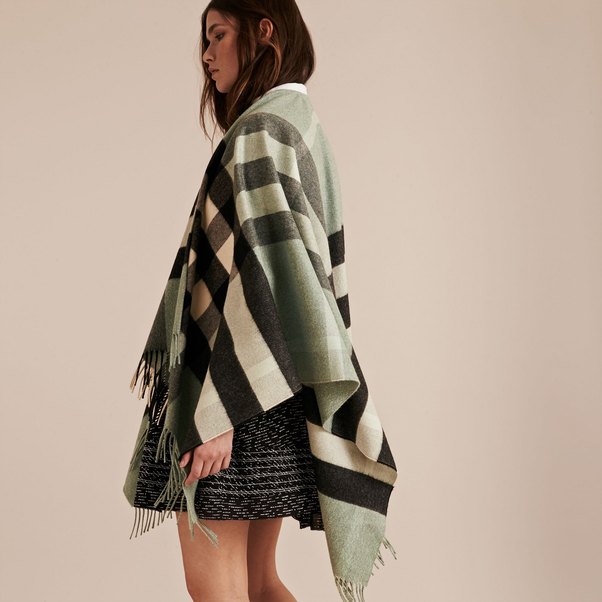 Dusty mint Check Cashmere and Wool Poncho Dusty Mint - gallery image 3