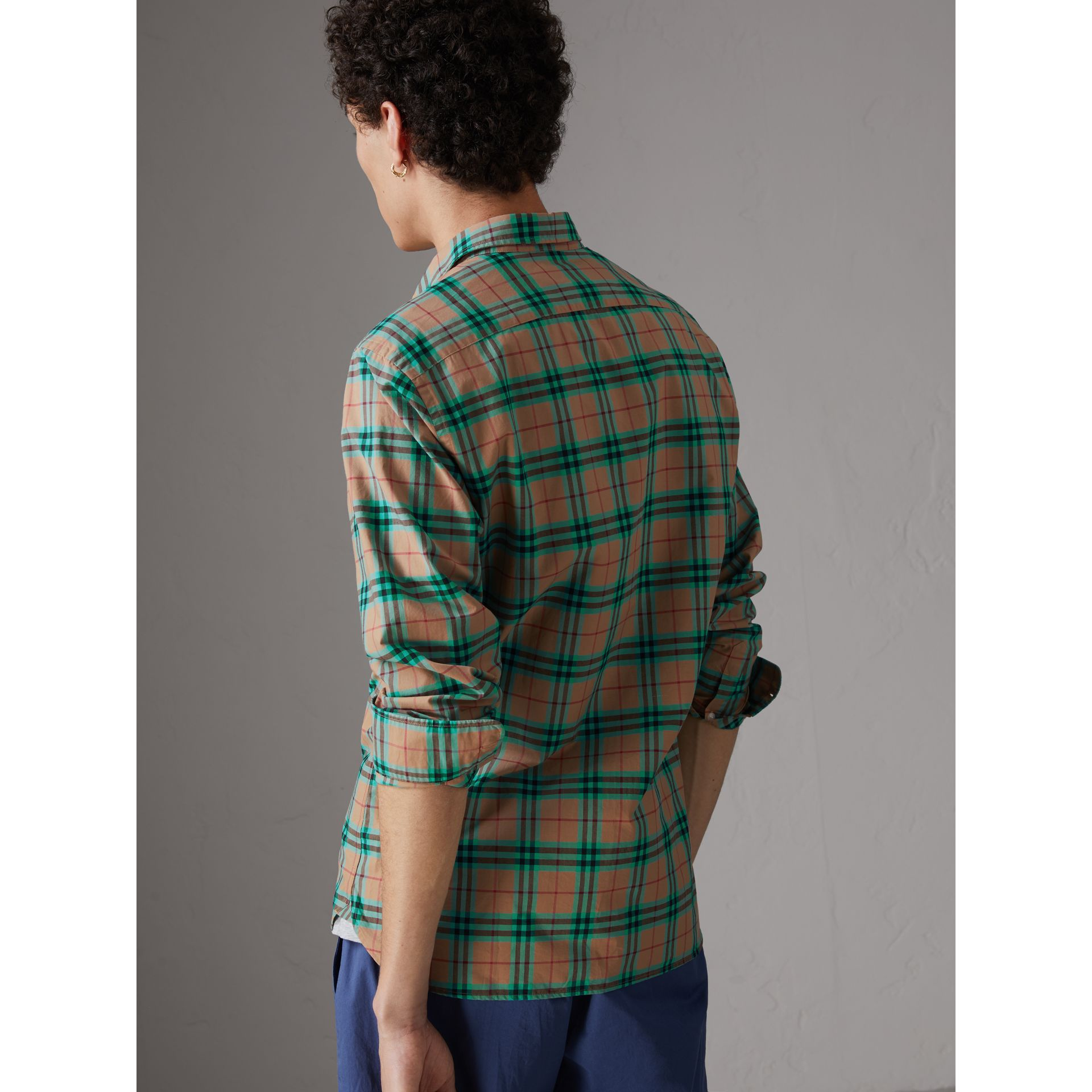 Check Cotton Shirt in Aqua Green - Men | Burberry Singapore - gallery image 2
