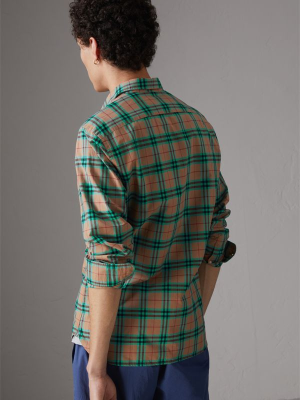 Check Cotton Shirt in Aqua Green - Men | Burberry Singapore - cell image 2