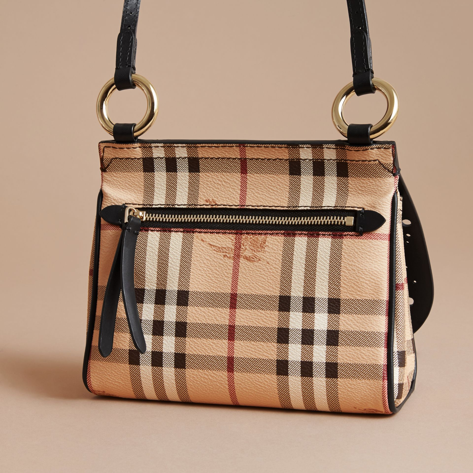 The Baby Bridle Bag in Leather and Haymarket Check Black - gallery image 4