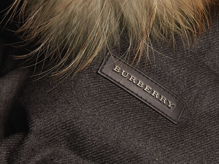 Mid grey Detachable Fur Trim Down-filled Wool Flannel Jacket - cell image 1