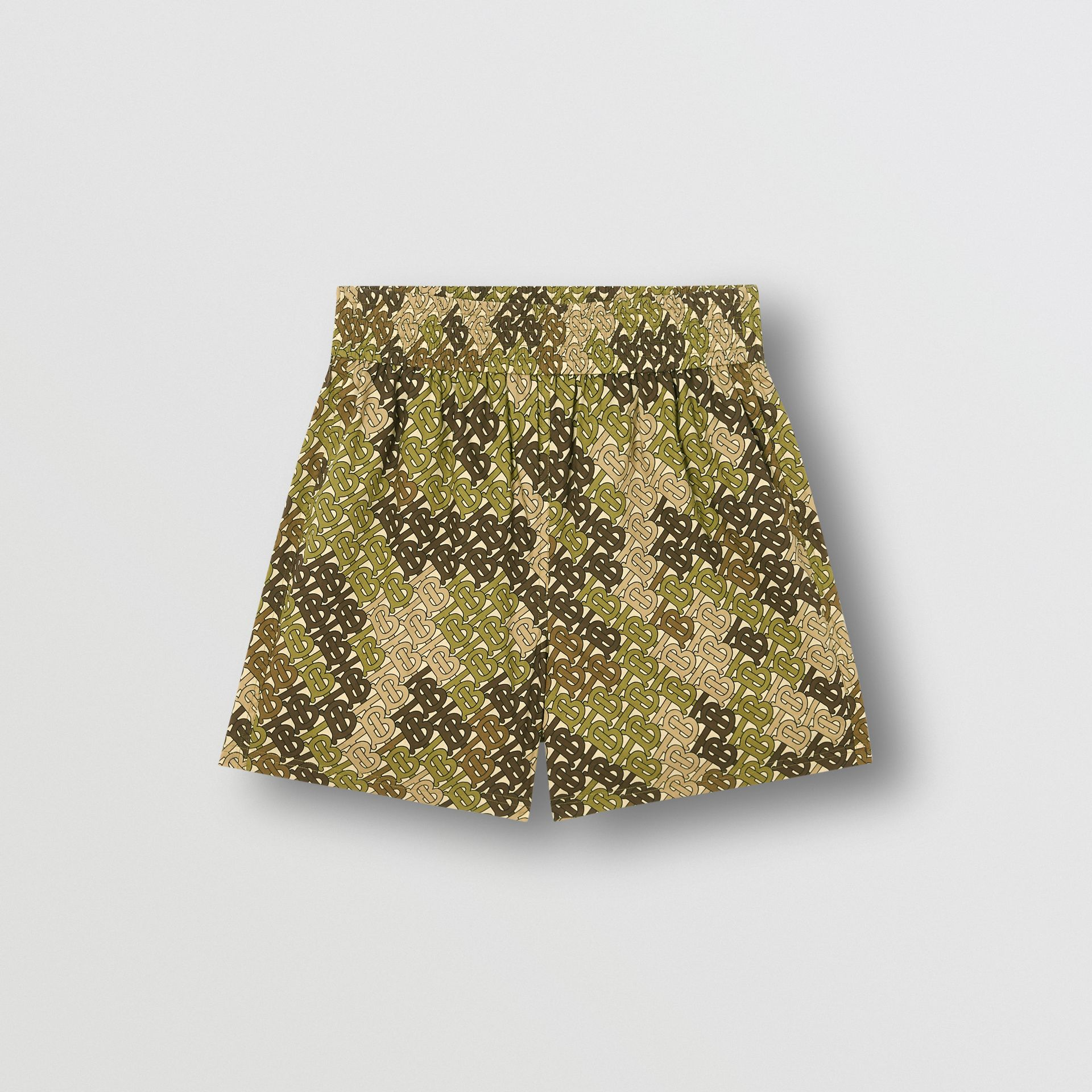 Monogram Print Cotton Poplin Shorts in Khaki Green | Burberry - gallery image 3