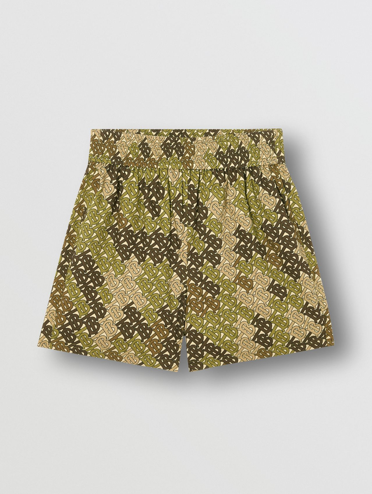 Monogram Print Cotton Poplin Shorts in Khaki Green